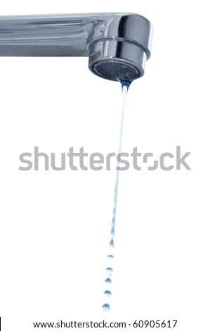 drops and faucet isolated on a white - stock photo