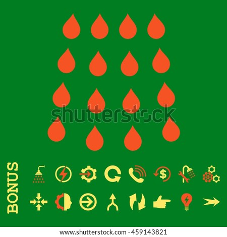 Drops glyph bicolor icon. Image style is a flat pictogram symbol, orange and yellow colors, green background. - stock photo