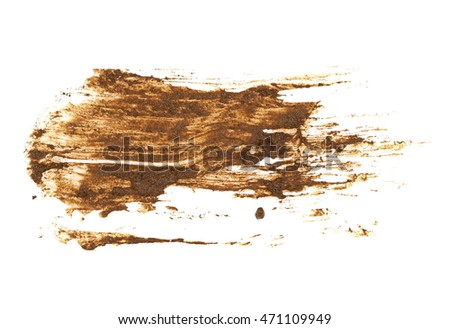 drops of mud sprayed isolated on white background, with clipping path