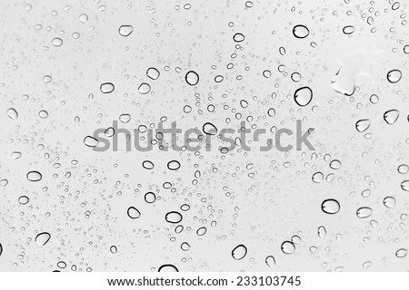 Drops of rain on the inclined window (glass). - stock photo