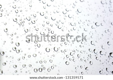 Drops of rain on the inclined window (glass). Shallow DOF.
