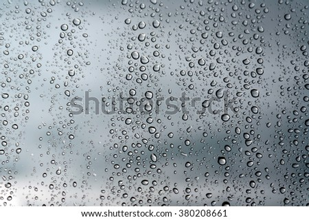 Drops of rain on the window (glass). Shallow DOF.