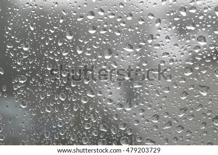 Drops of rain on the window, rainy day. Shallow DOF