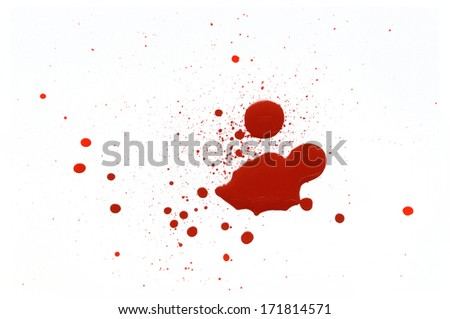 drops of red paint on white background
