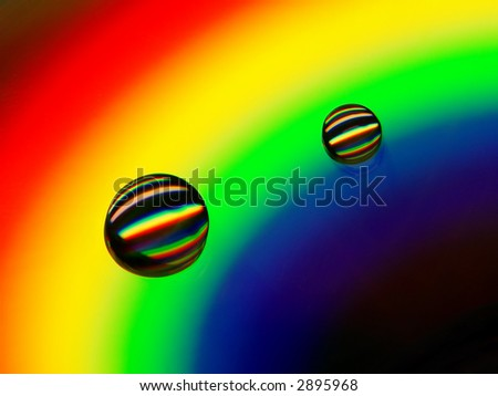 Drops of water on a compact disc - stock photo