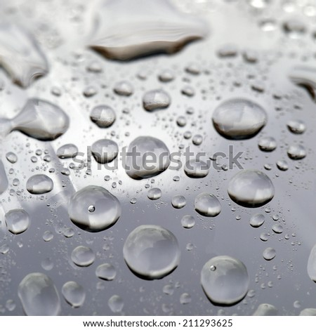 Drops of water on a grey background