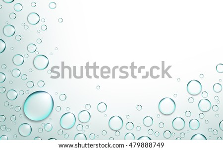 Drops of water on an abstract white background
