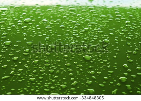 drops of water on the car after rain. - stock photo