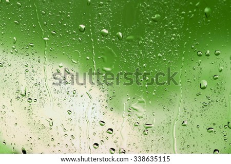 Drops of water.on the glass.and green tone background.