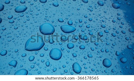 drops of water-repellent surface on blue background - stock photo