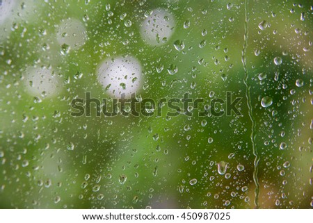 drops on a green background, blur glass window, copy space for text. - stock photo