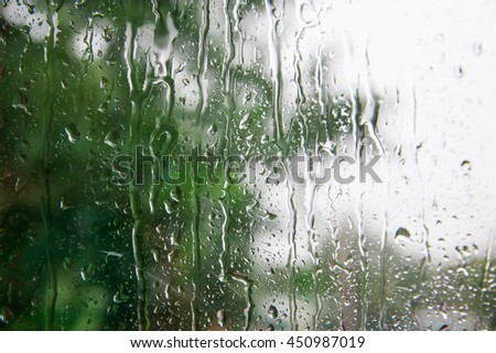 drops on a white-green background, blur glass window, copy space for text. - stock photo