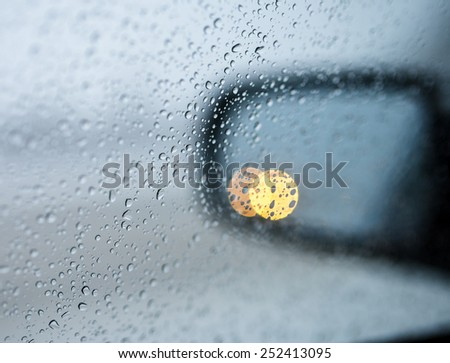 drops on the side mirrors - stock photo