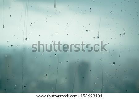 Drops on window background - stock photo
