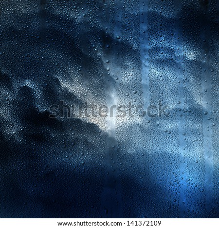 drops texture on the glass in cloudy weather - stock photo
