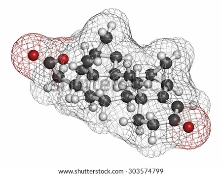 Drospirenone contraceptive drug molecule. Progestin used in birth control pills. Atoms are represented as spheres with conventional color coding: hydrogen (white), carbon (grey), oxygen (red).  - stock photo