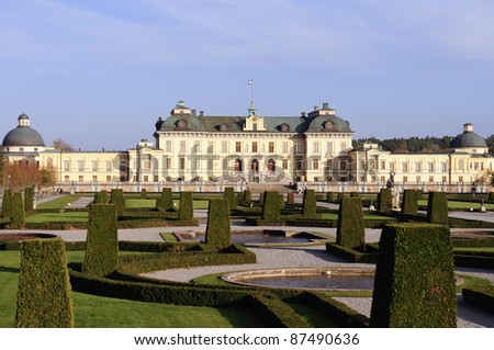 Drottningholm palace in Stockholm - stock photo