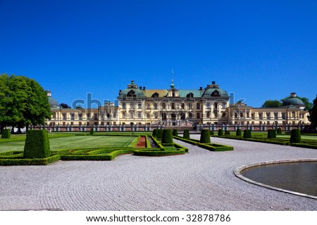 Drottningholm palace in Stockholm, residence of the royal family - stock photo