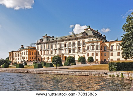 Drottningholm Royal palace in Stockholm - stock photo