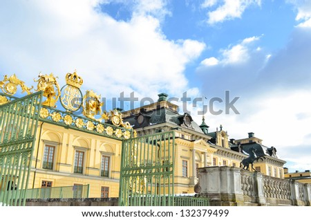Drottningholms castle in Stockholm - Sweden - stock photo