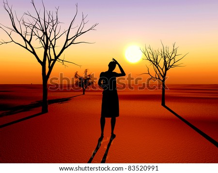 Drought as the result of global warming and climate changes with desperate woman in front - stock photo