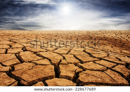 drought cracked desert landscape - stock photo