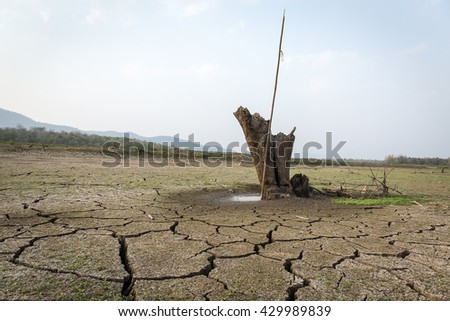 Drought cracked soil sky stump basin . - stock photo