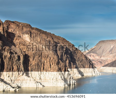 Drought effect visible on Hoover Dam Lake Mead reservoir at a record low levels