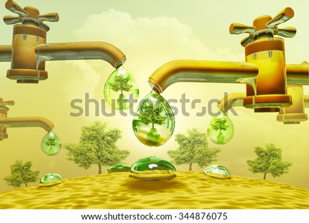 Drought, heat.  Water drops out of water taps (Water Scarcity Symbol), dollar and tree be reflected in drop. - stock photo