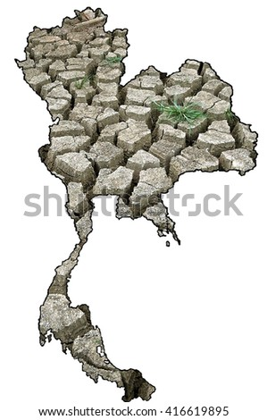 Drought is an important problem in Thailand. - stock photo