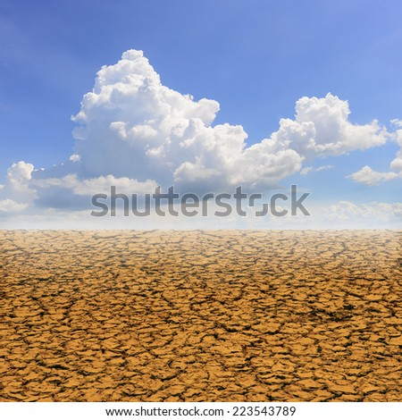 Drought land against a blue sky with clouds