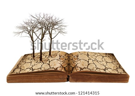 drought land on a book. - stock photo