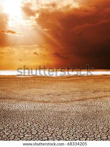 drought land under hot sun - stock photo