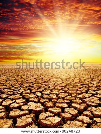 drought land under red sunset - stock photo
