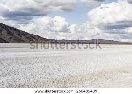 Drought stricken dry lake bed in California's Mojave Desert National Preserve.   - stock photo