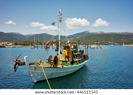 drover in the port of town of Sami, Kefalonia, Ionian Islands, Greece - stock photo