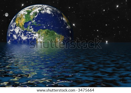 Drowning Earth due to Global Warming and Greenhouse Effect - stock photo