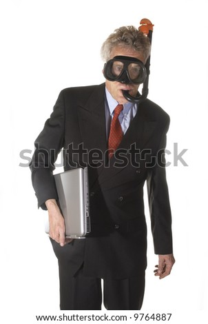drowning in business - stock photo