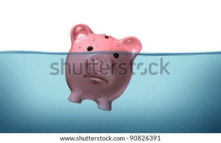 Drowning in debt and keeping your financial head above water represented by a piggy bank pink pig sinking in blue water as a symbol of urgent business and money management failure and defeat. - stock photo