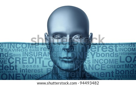 Drowning in debt and trying to keep your financial head above water as a human head sinking with different finance terms as insurance and bills or credit and money or investment problem text. - stock photo