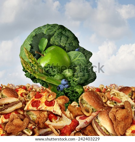 Drowning in fat concept as a human face made of fresh green vegetables and fruit struggling to survive from the ocean of greasy fast food and fried foods as a symbol of nutrition crisis. - stock photo