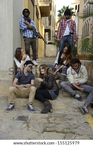 Drug addict people in the ghetto with gang members - stock photo