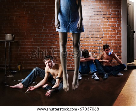 Drug addiction and suicide. Social problem - stock photo