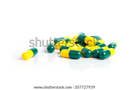 Drug capsules isolated on white