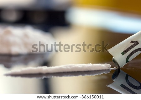 drug cocaine euro - stock photo