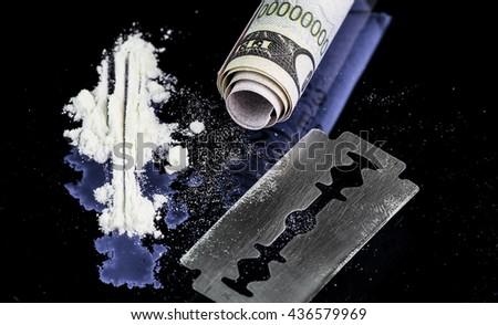 drug, cocaine, heroin - stock photo
