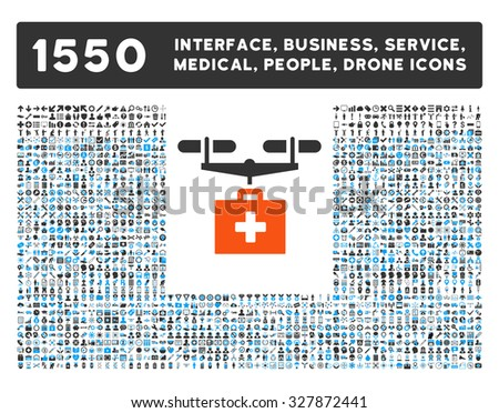 Drug Drone Delivery and other web interface, business tools, people poses, medical service glyph icons. Style is flat symbols, bicolored, rounded angles, white background.
