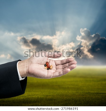 Drug in businessman hand in morning, Good healthy for good work concept - stock photo