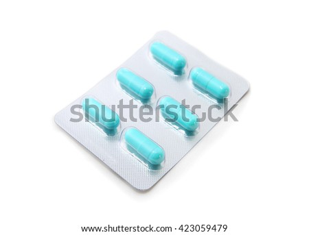 drug pill and capsule of antibiotics in blister packaging isolated on white background - stock photo