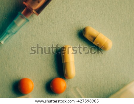 Drug prescription for treatment medication. Pharmaceutical medicament, cure in container for health